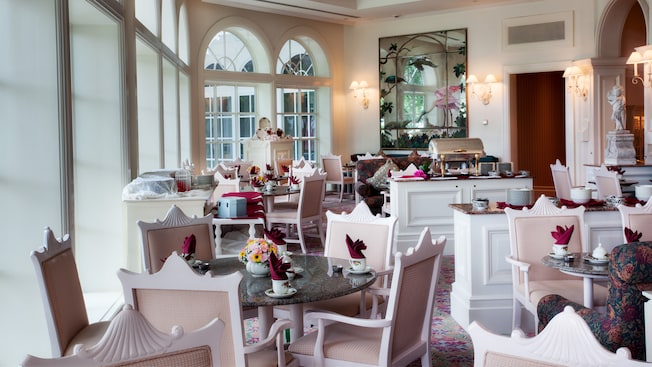 Garden View Tea Room at Disney's Grand Floridian Resort and Spa set for Afternoon Tea