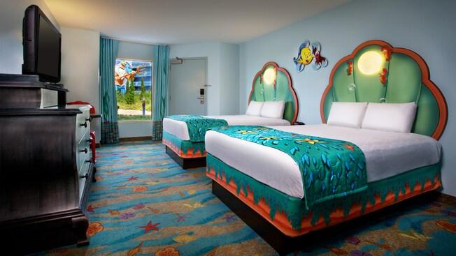 Disney's Art of Animation Resort, Little Mermaid themed hotel rooms