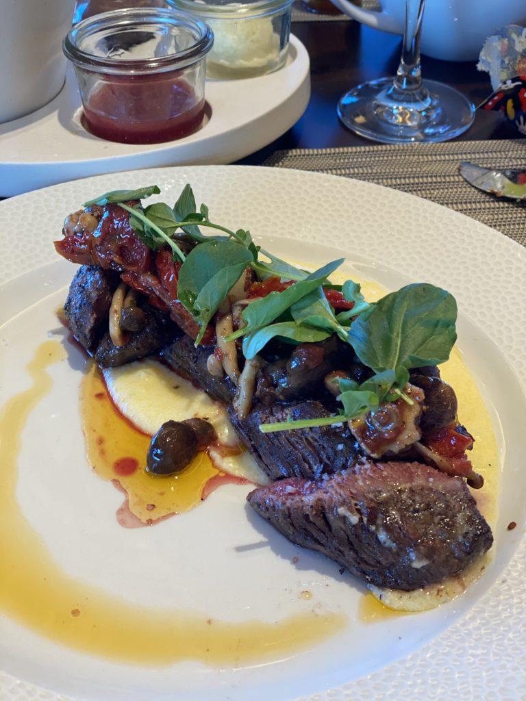 Disney food, steak at Topolino's Terrace character breakfast, Disney World restaurants, Disney Dining Plans