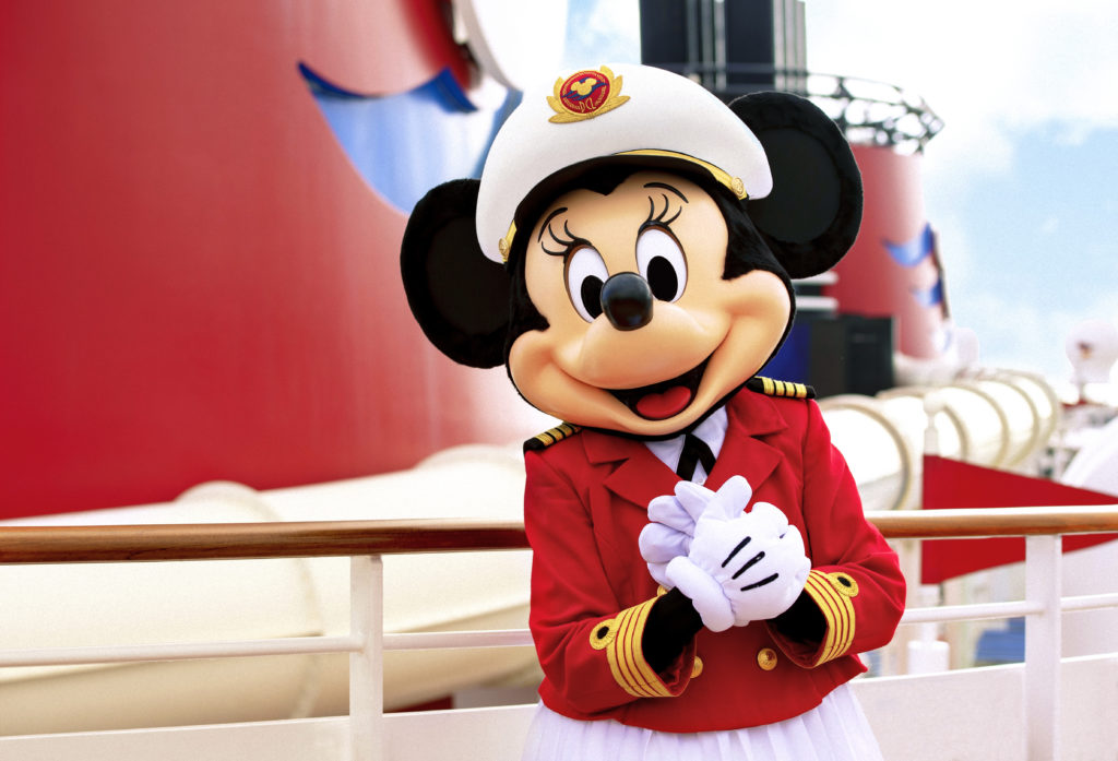 Minnie Mouse dressed as a  captain on a Disney Cruise ship