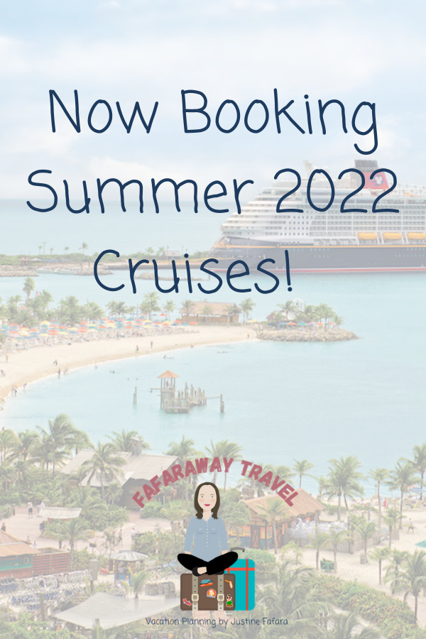 pinterest style image to advertise now booking summer 2022 cruises