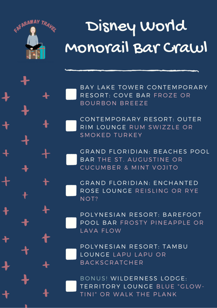 Monorail Bar Crawl at Walt Disney World recommendations for stops and drinks
